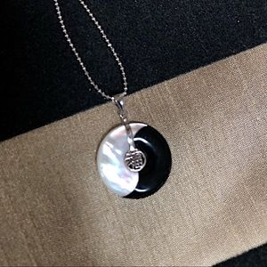 Sterling Silver Mother of Pearl & Onyx Pendant